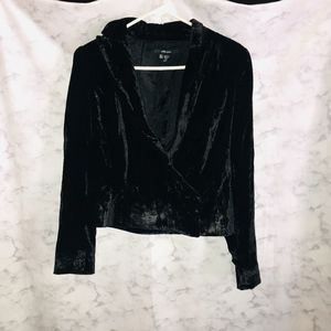 ZARA Crushed Velvet Blazer Jacket Black Large